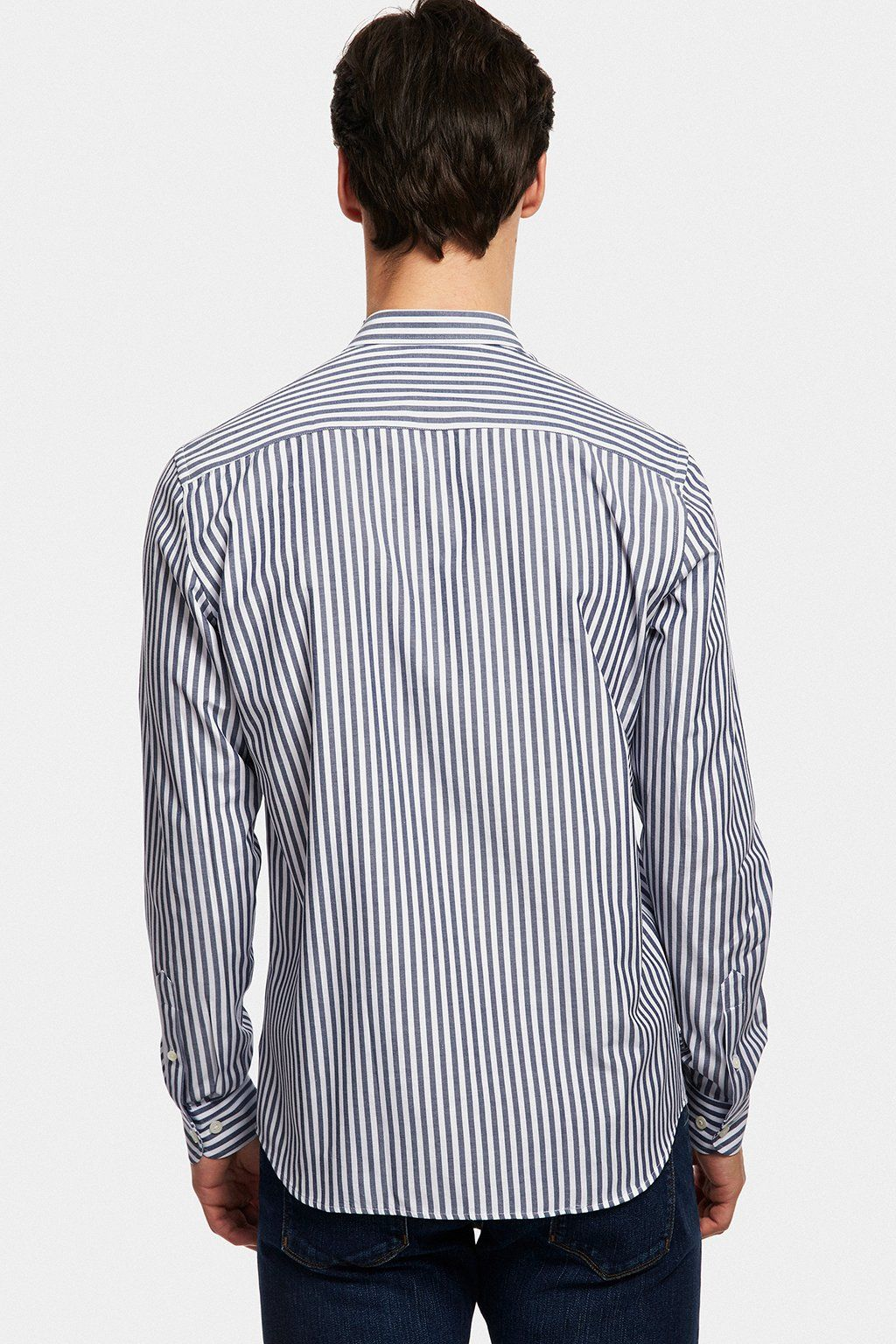 Navy blue patterned striped shirt