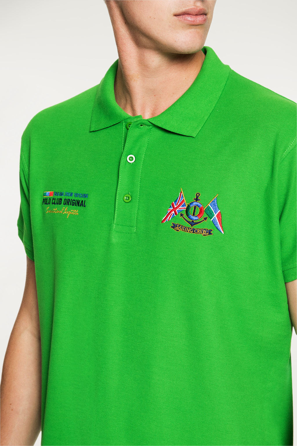 Polo YATCHING FLAG verde grass