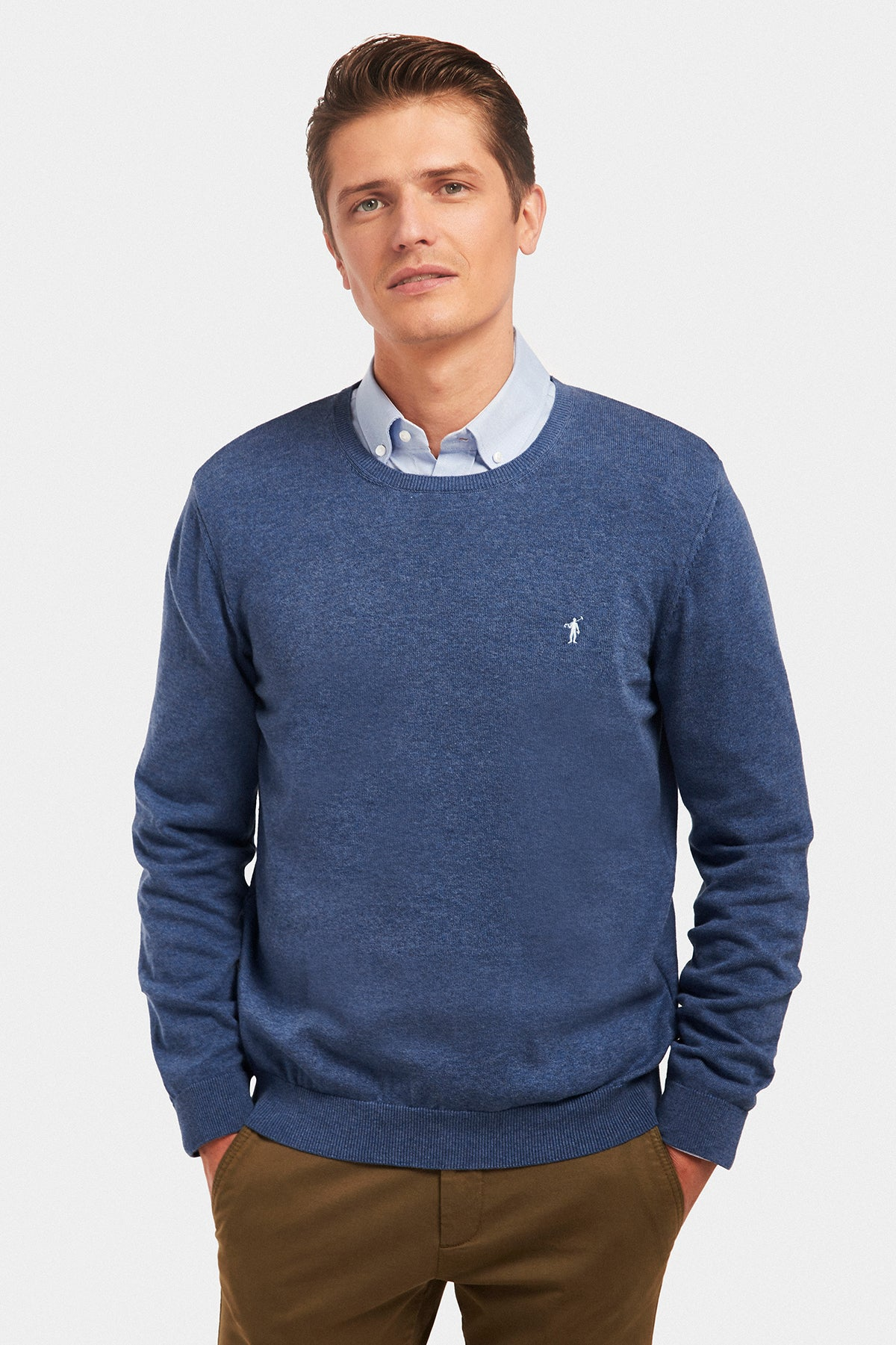 Indigo blue round neck jumper