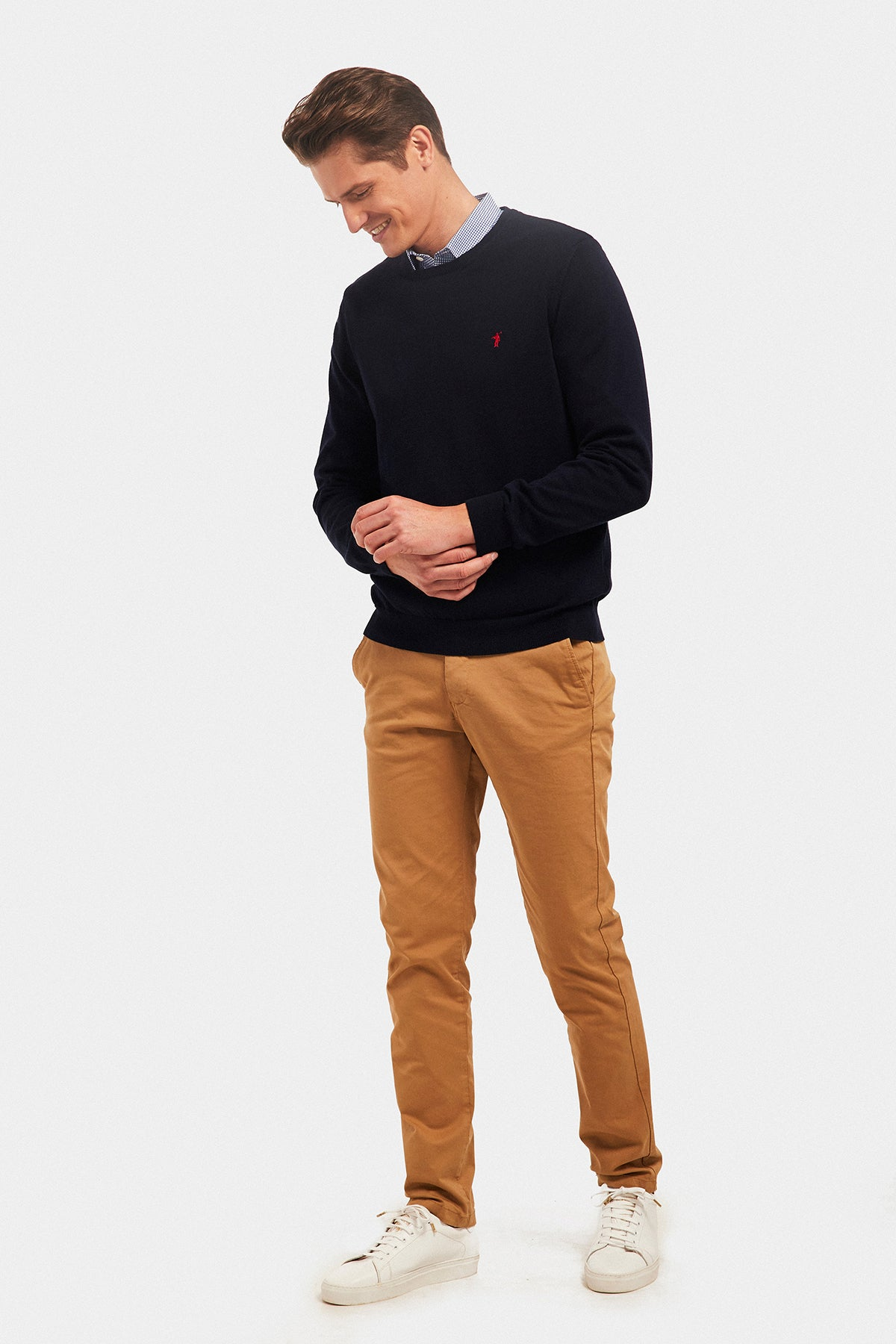 Navy blue cotton jumper