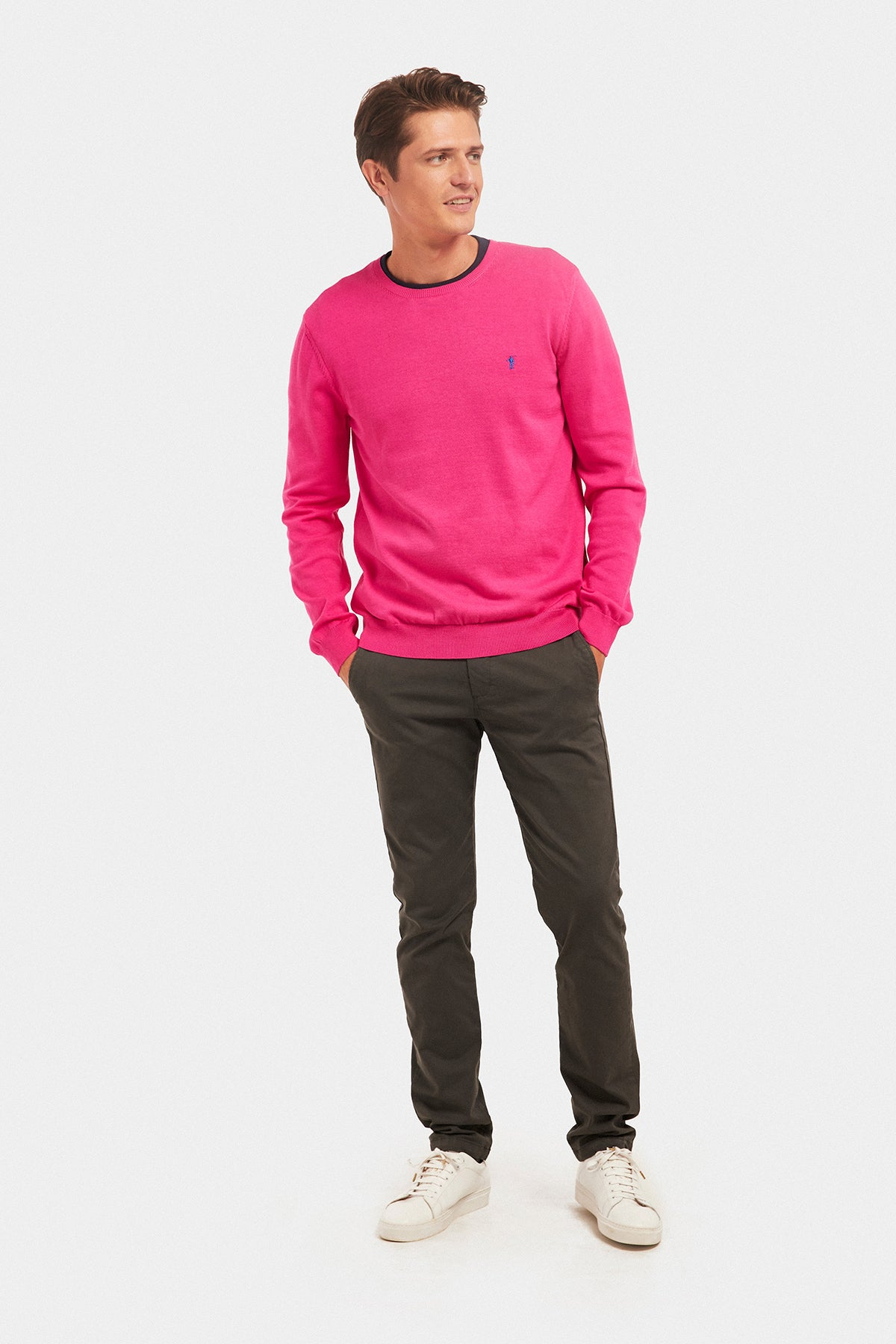 Fuchsia round neck jumper