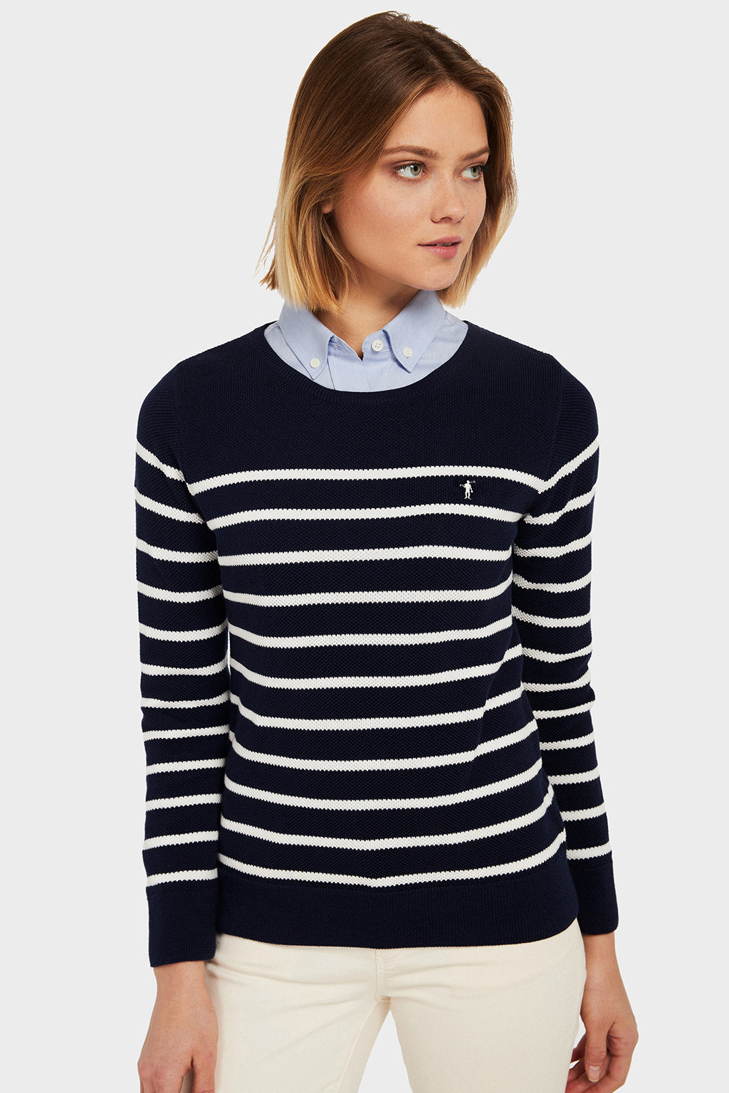 Jersey Navy Stripes Marino-Crudo
