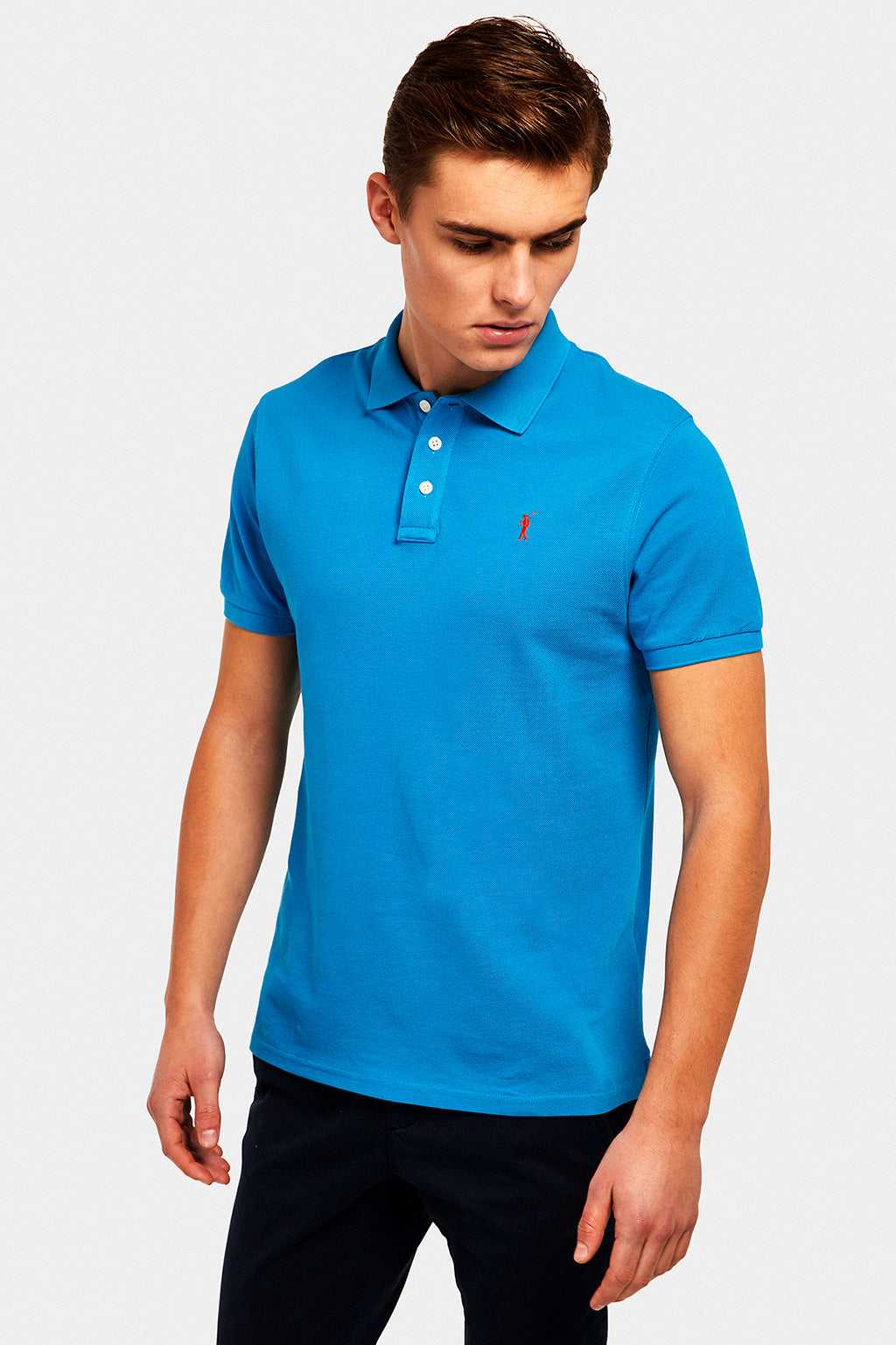 Blue custom fit polo shirt