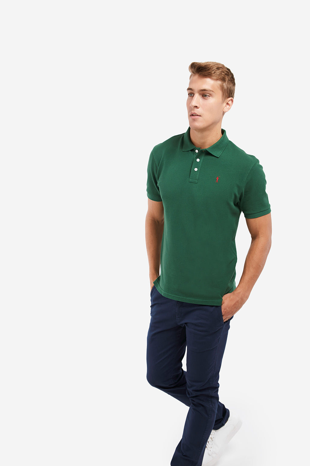 Polo verde botella custom fit