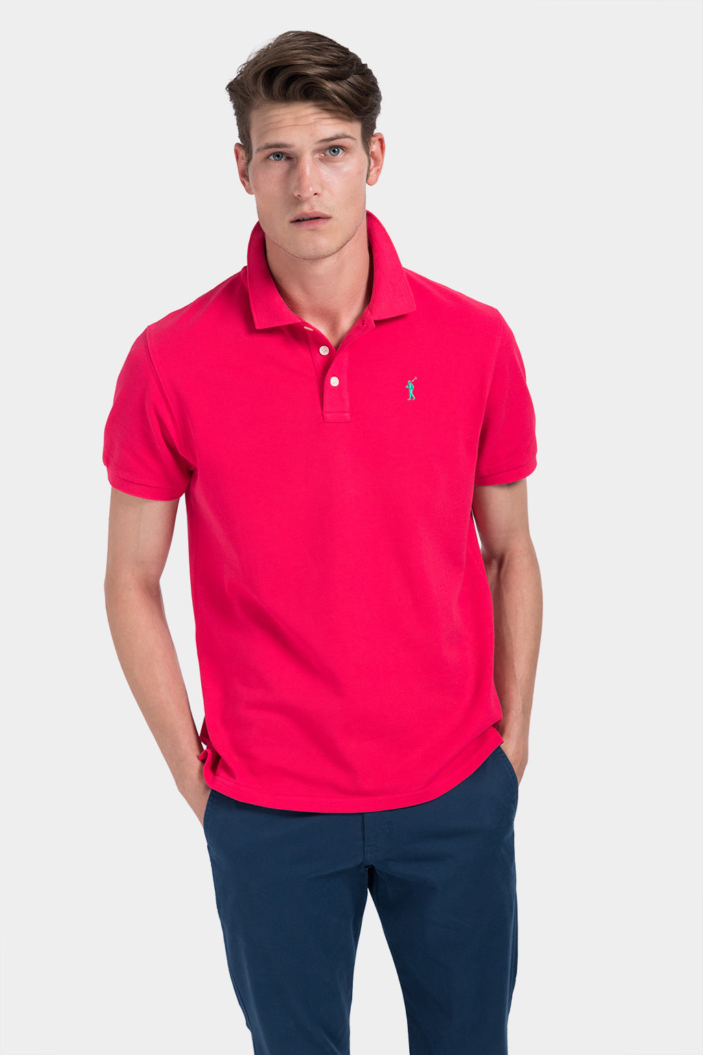 Red custom fit polo shirt