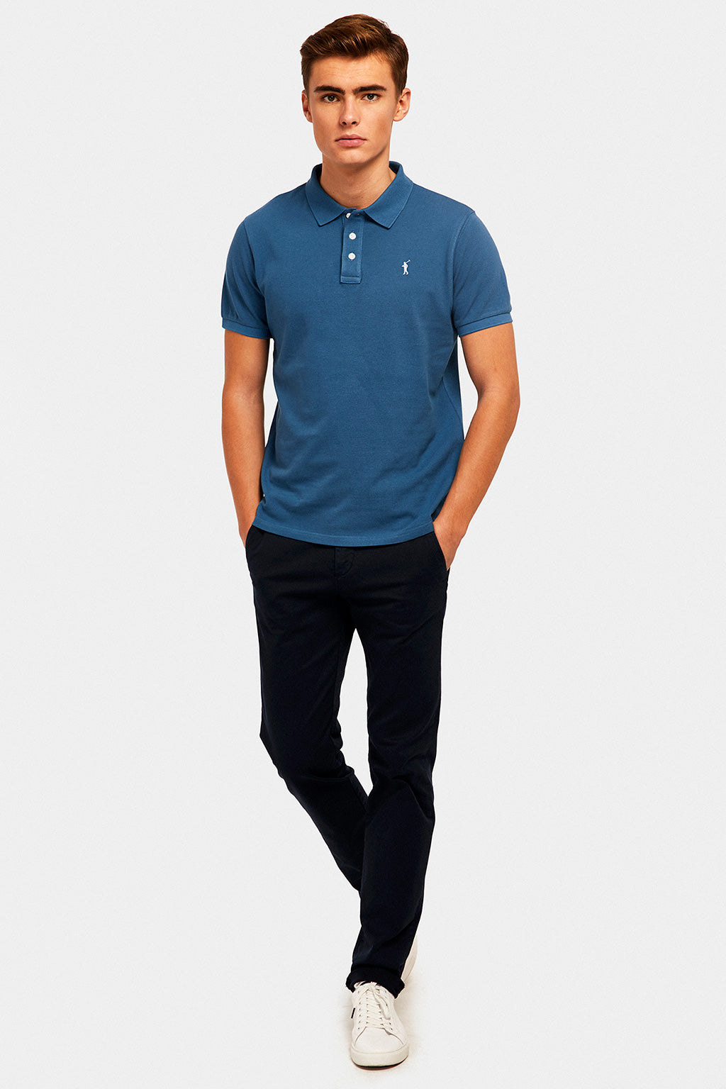 Polo azul denim custom fit