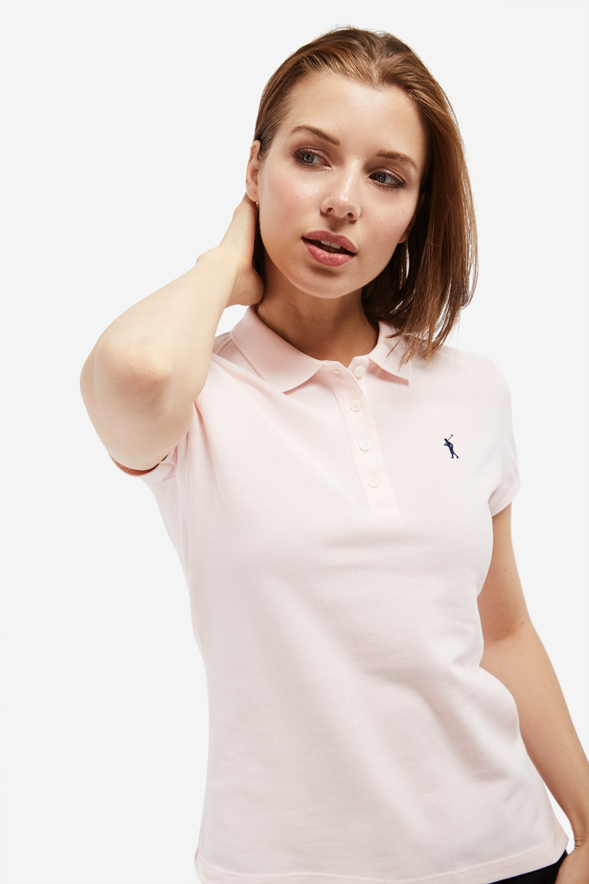 Polo rosa con logo bordado