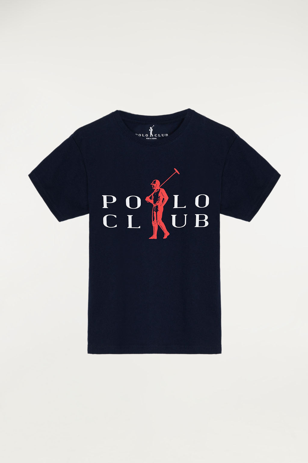 Navy blue T-shirt with bi-coloured print