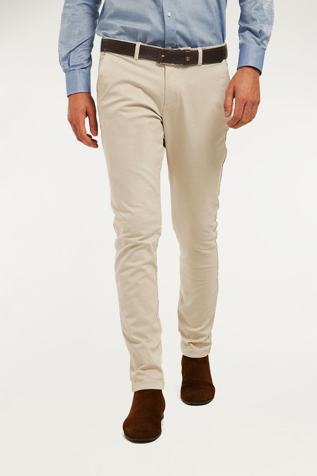 Nude slim fit trousers