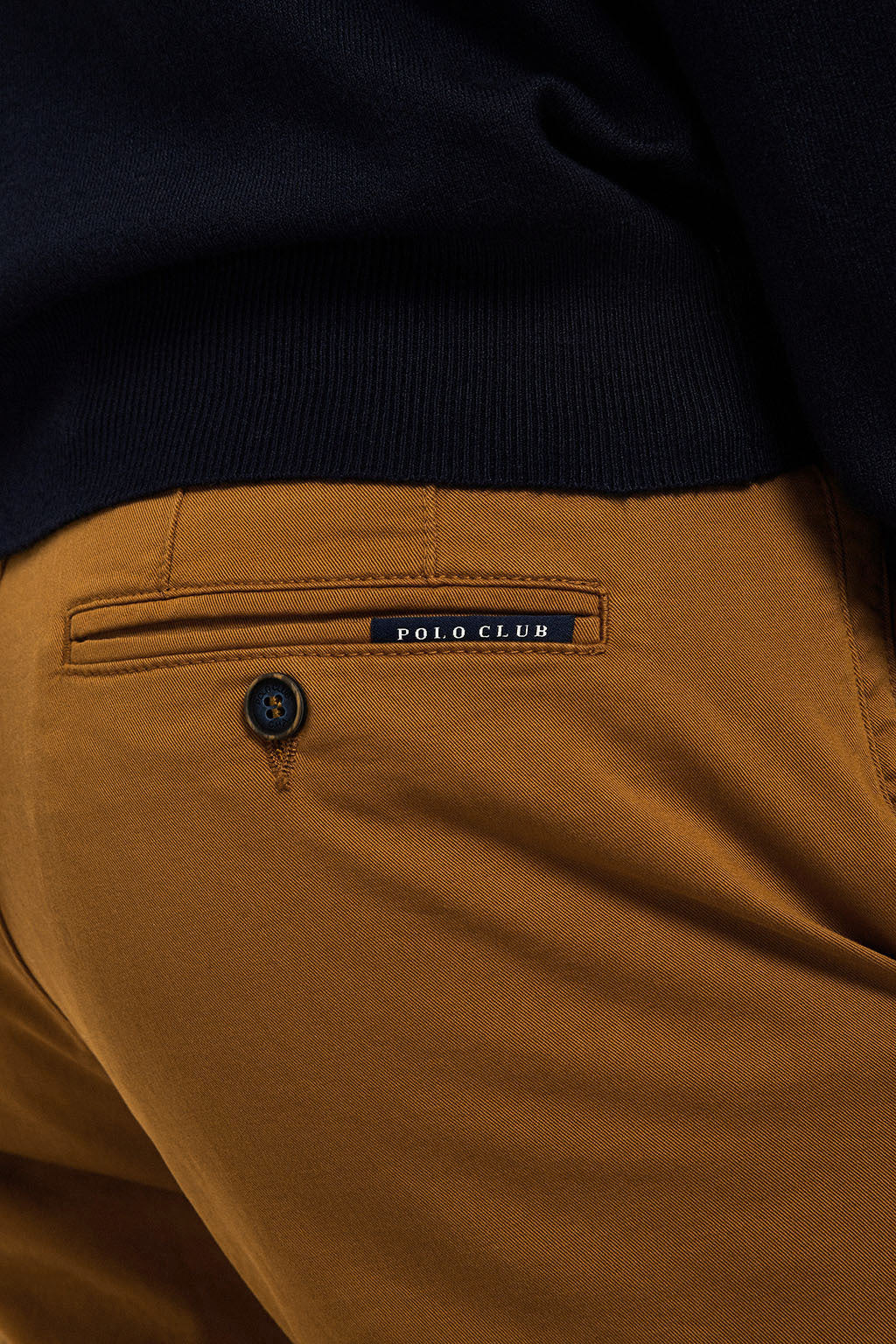 Ochre slim fit trousers