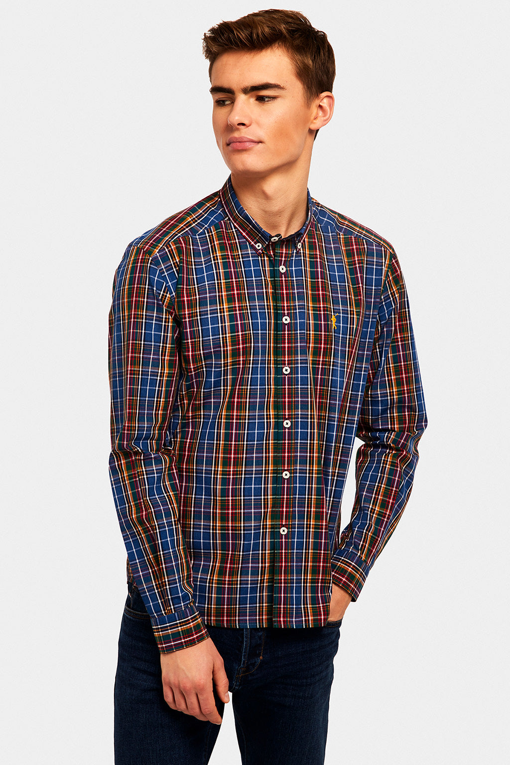 Navy blue-nude-mustard checked shirt