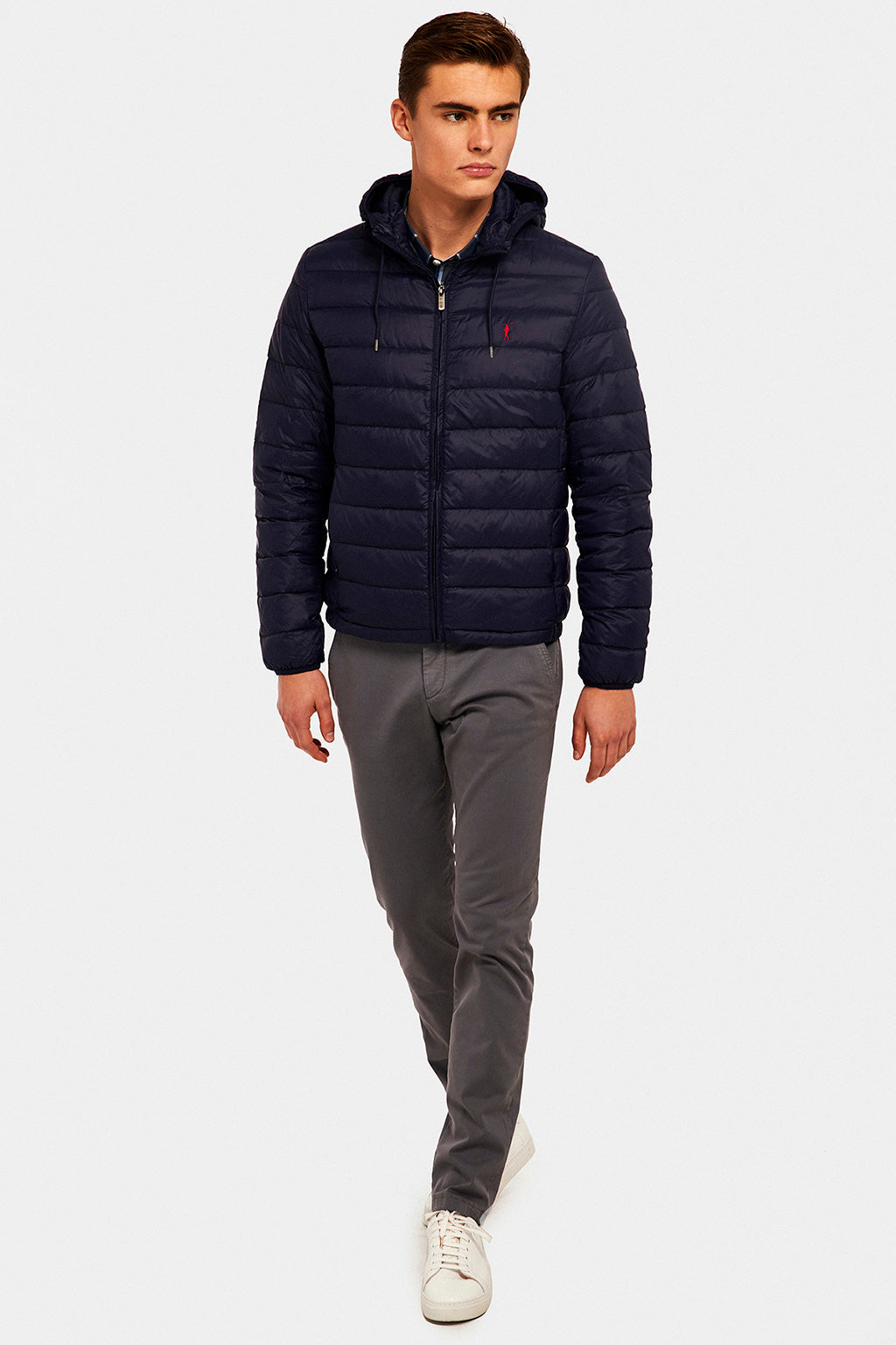 Navy blue Ultralight jacket with hood
