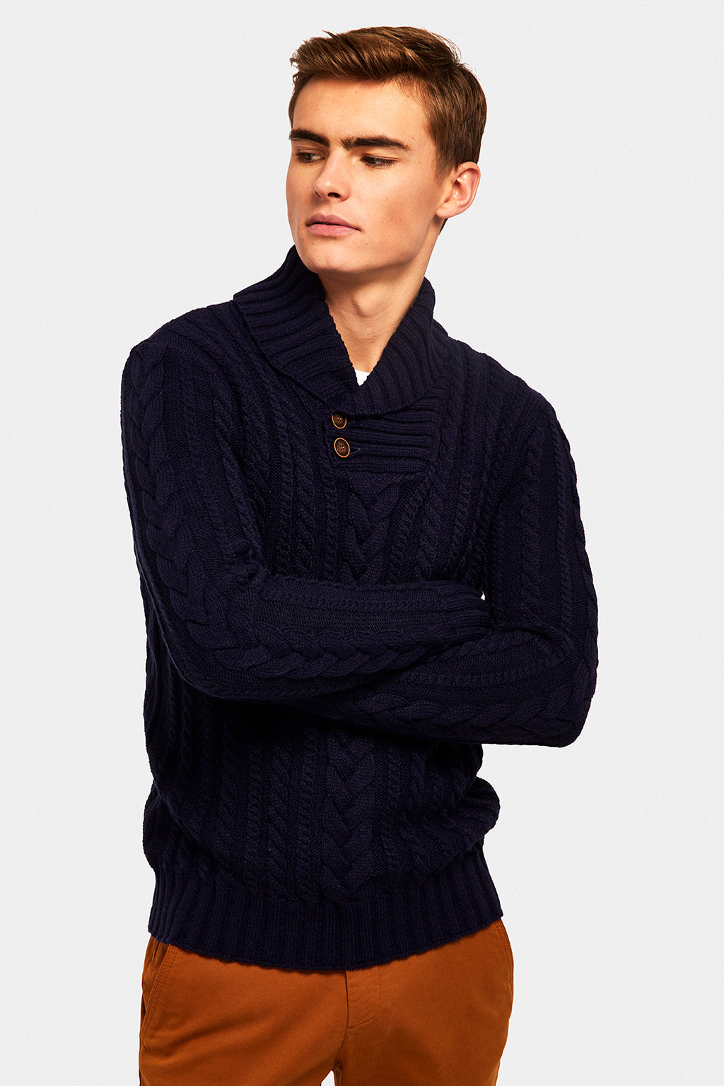 Ribbed collar-buttoned jumper