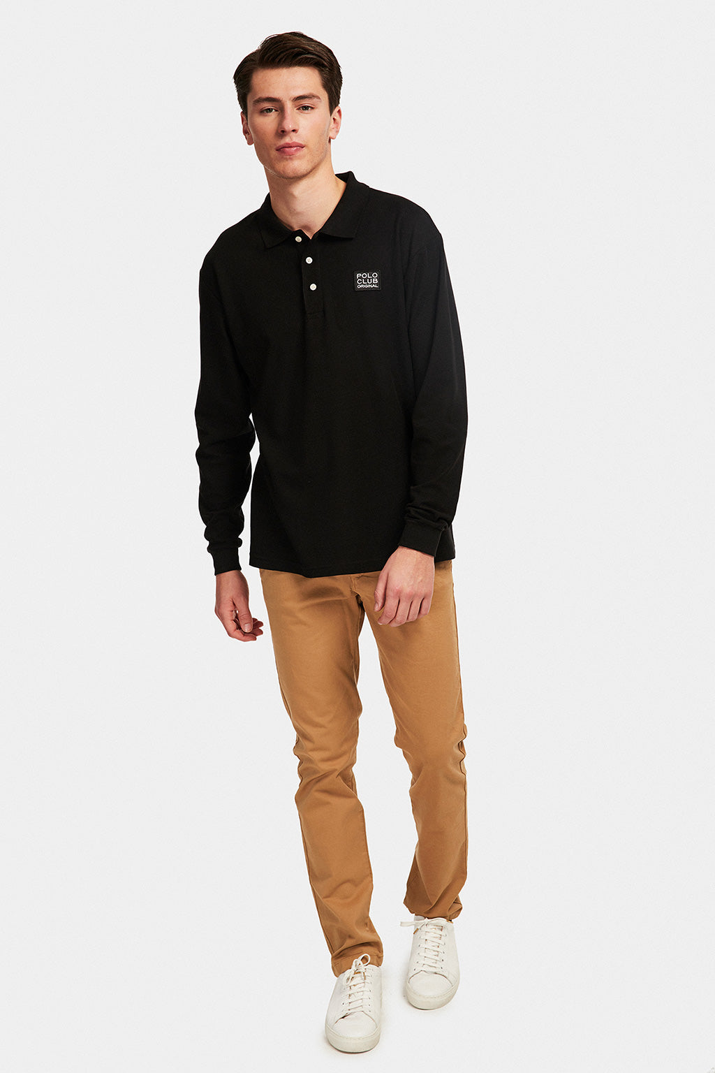 Long sleeve polo shirt with patch in contrasting colour