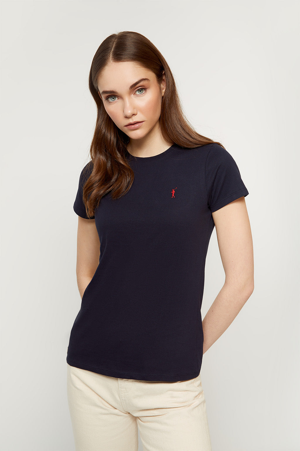 Navy blue tee with embroidered logo