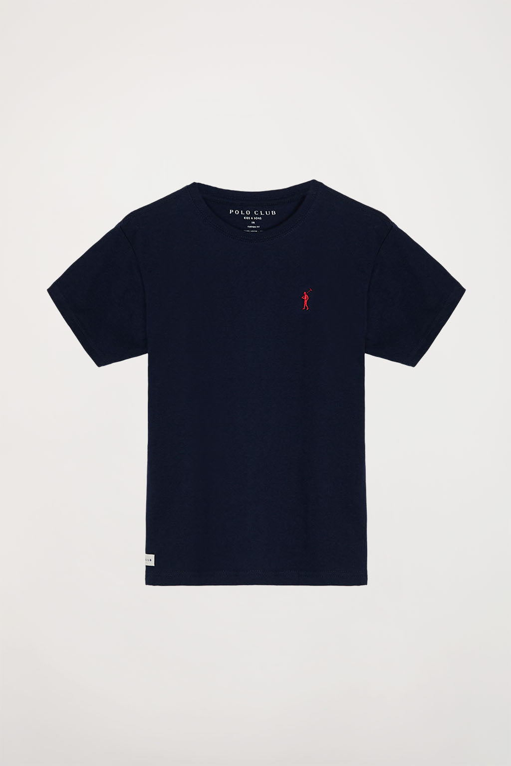 Navy blue tee with small embroidered logo