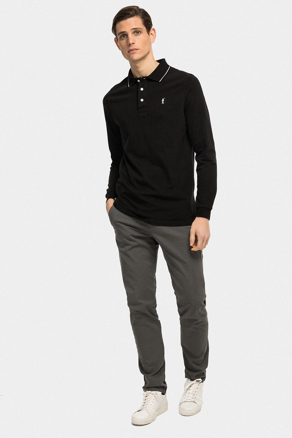 Black long sleeve polo shirt with detail on collar