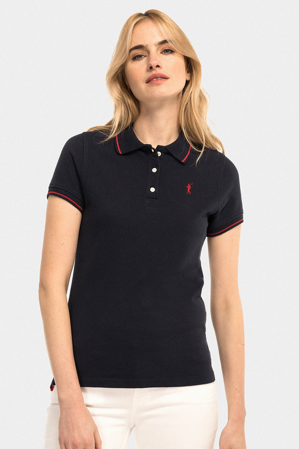 Navy blue polo shirt with contrast trims