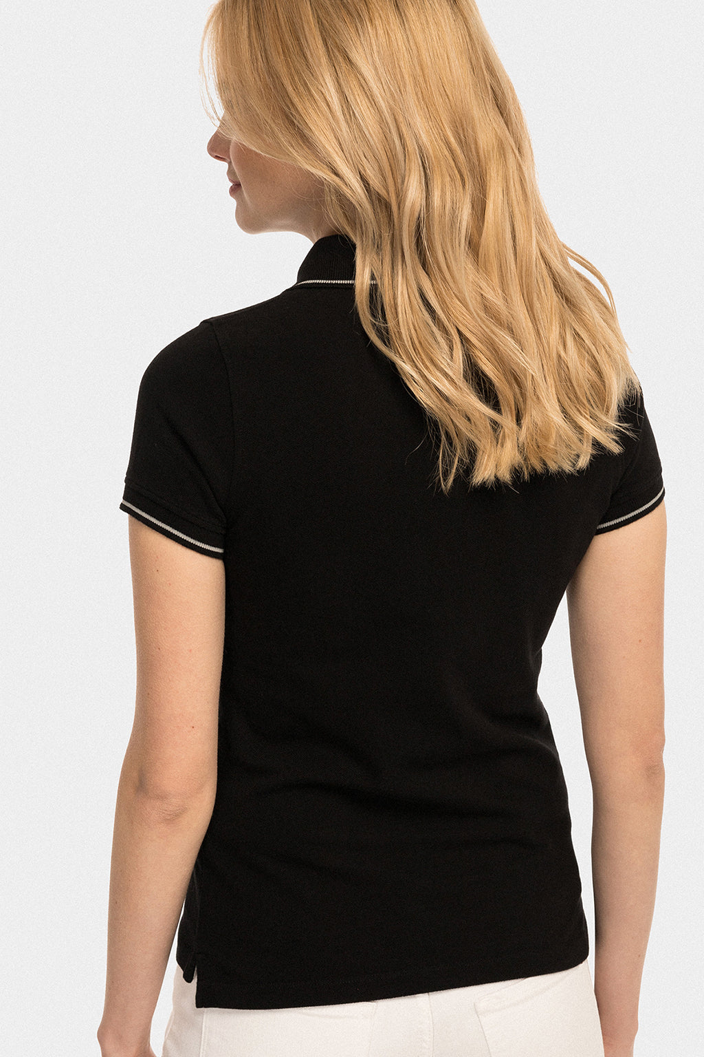 Black polo shirt with contrast trims