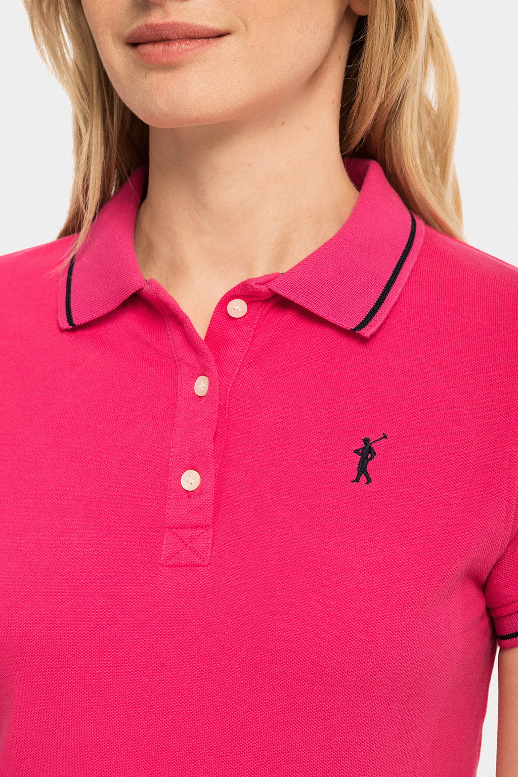 Fuchsia polo shirt with contrast trims