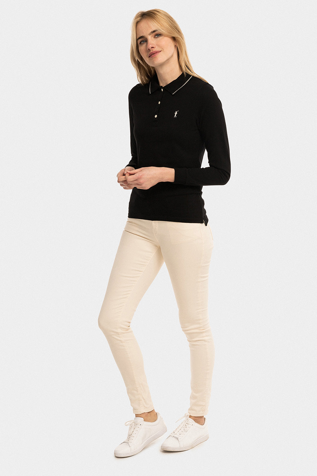 Black long sleeve polo shirt with contrast stripes