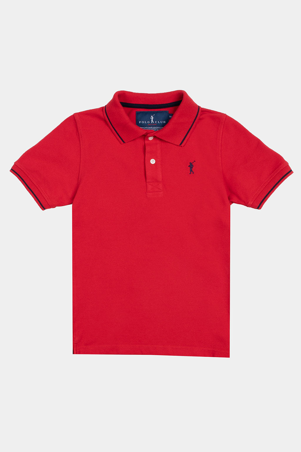Red polo shirt with contrast trims