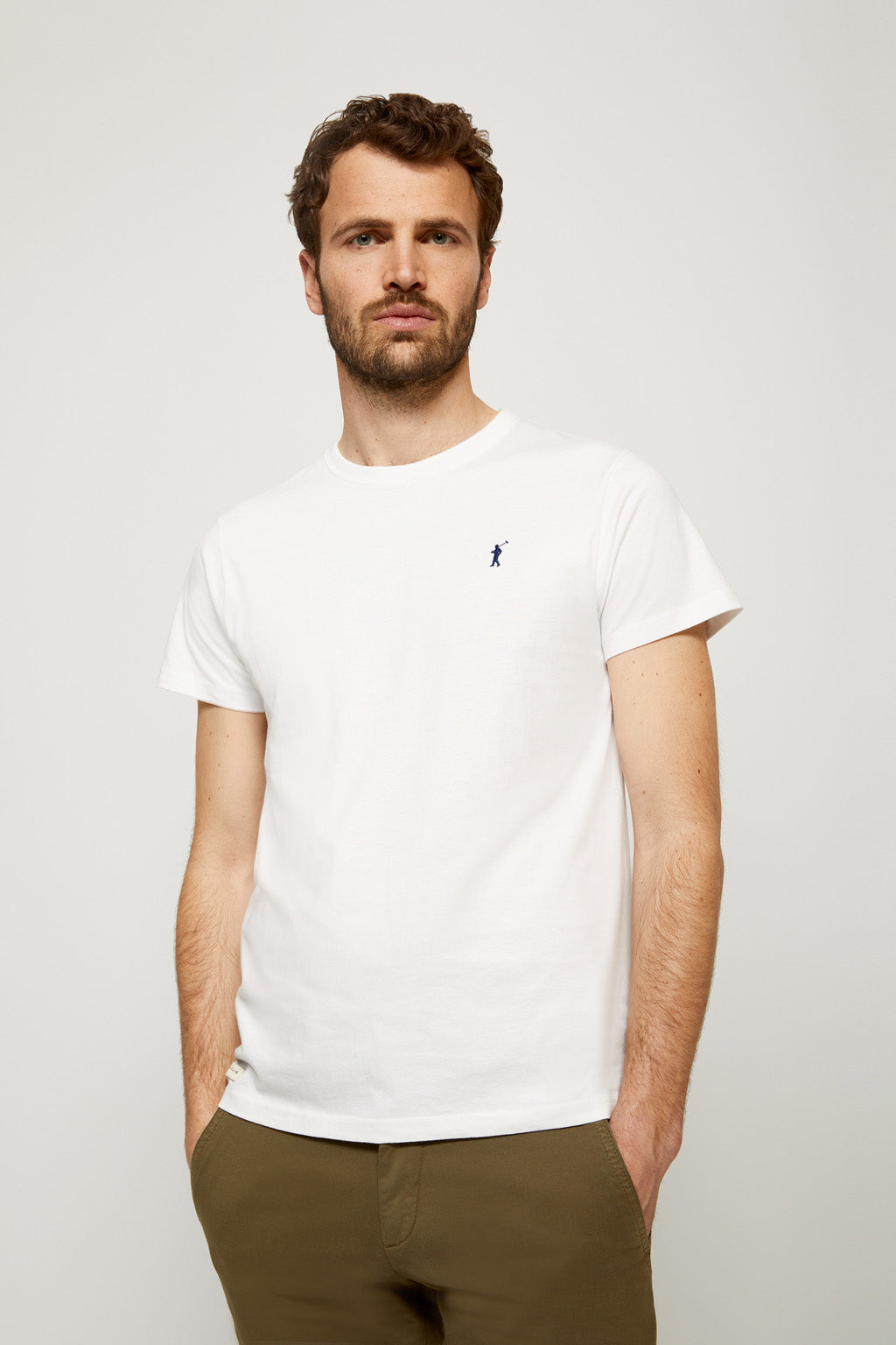 White tee with embroidered logo