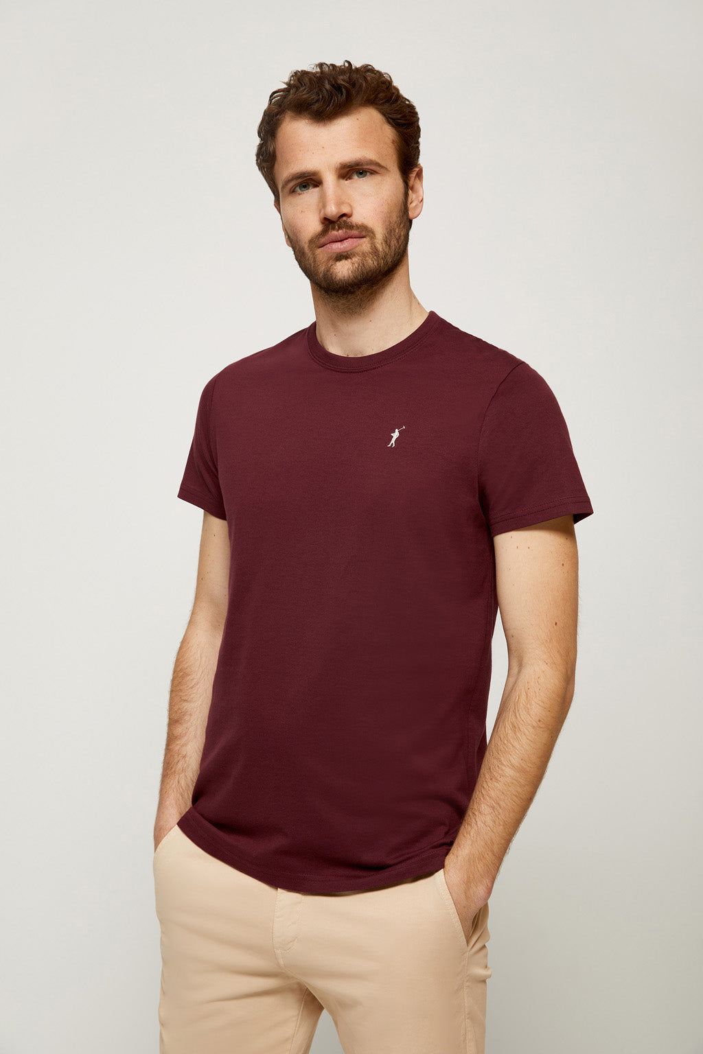 Burgundy tee with embroidered logo