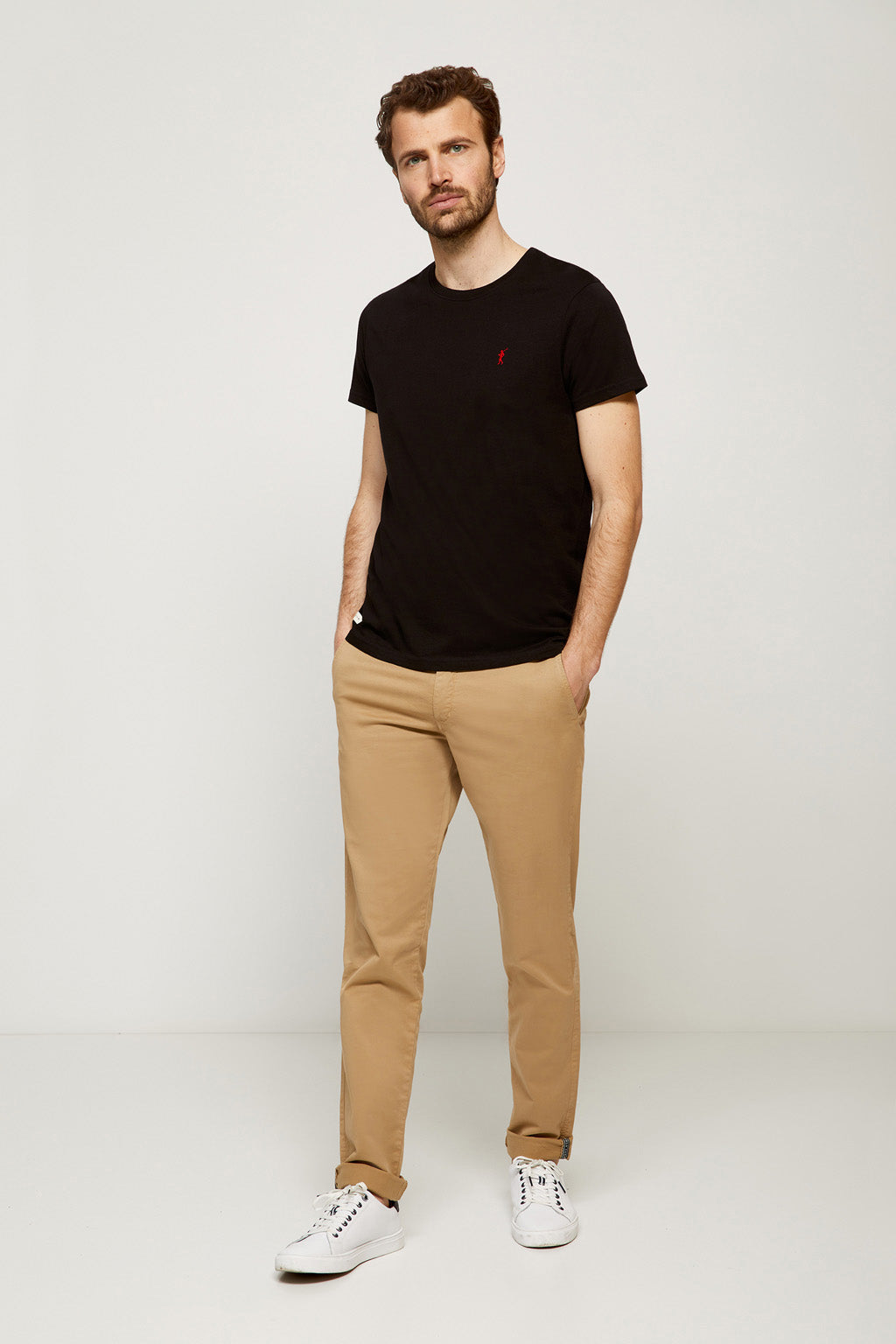 Black tee with embroidered logo
