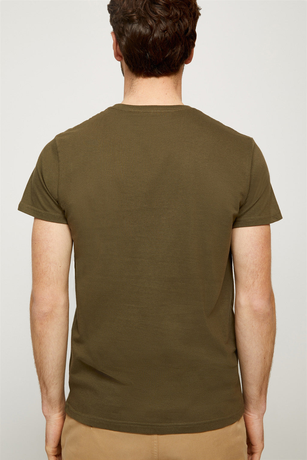 Khaki tee with embroidered logo
