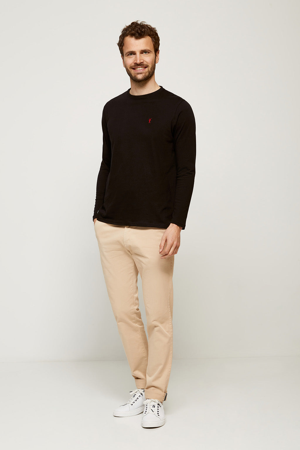 Black long sleeve tee with embroidered logo