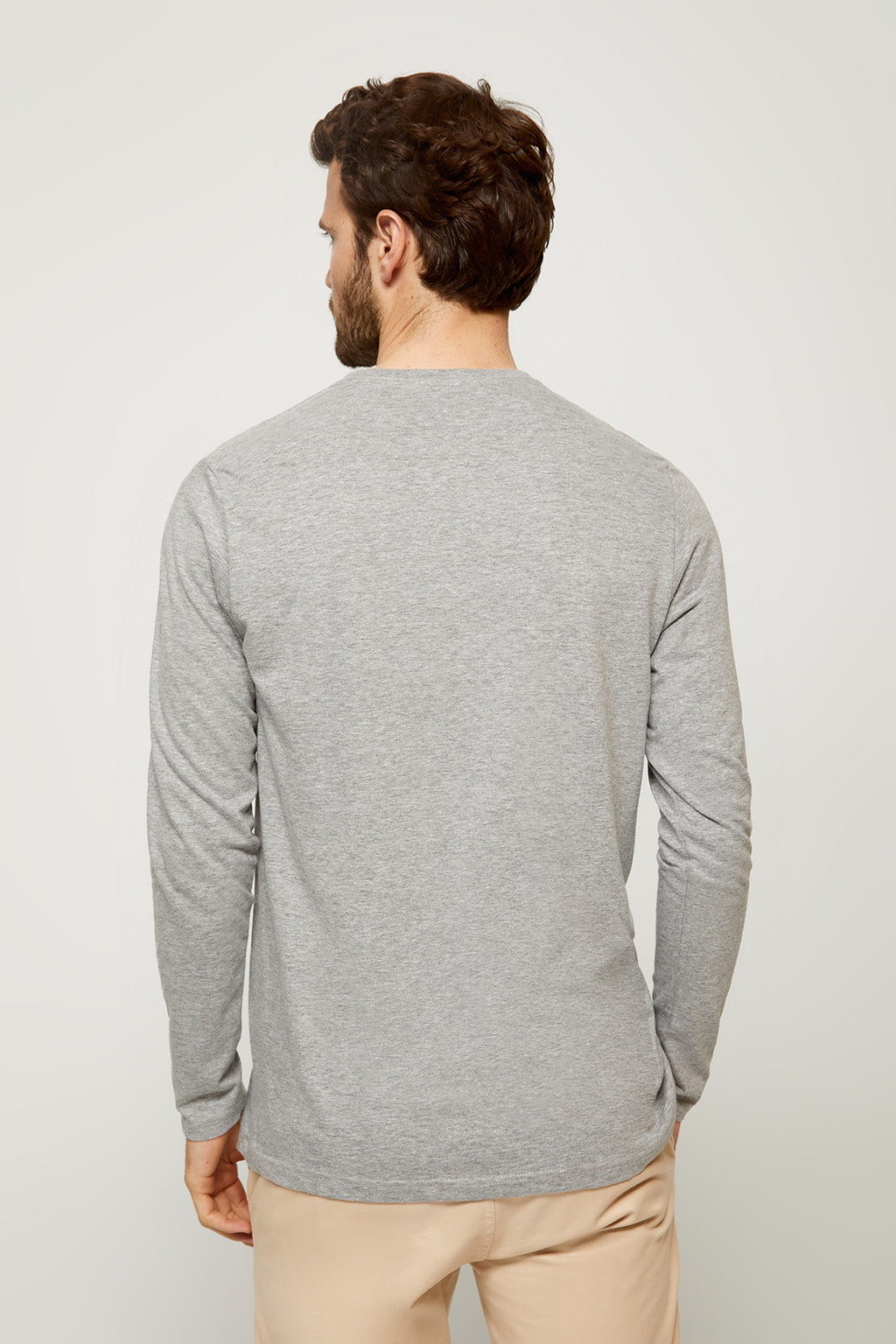Grey long sleeve tee with embroidered logo