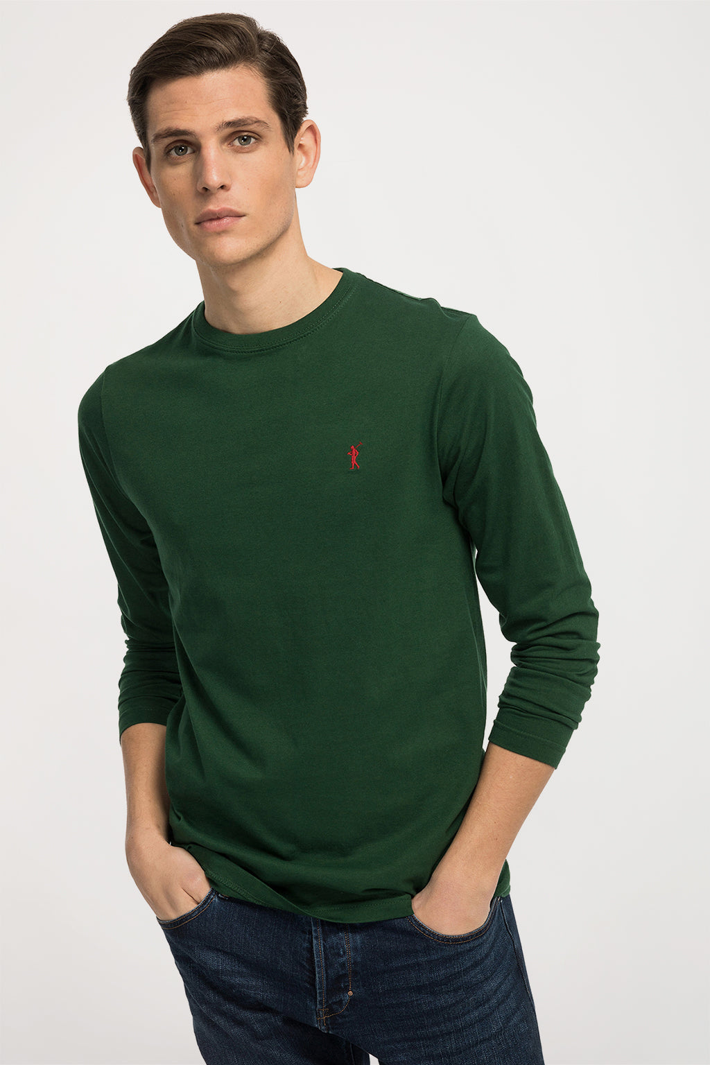 Green long sleeve tee with embroidered logo