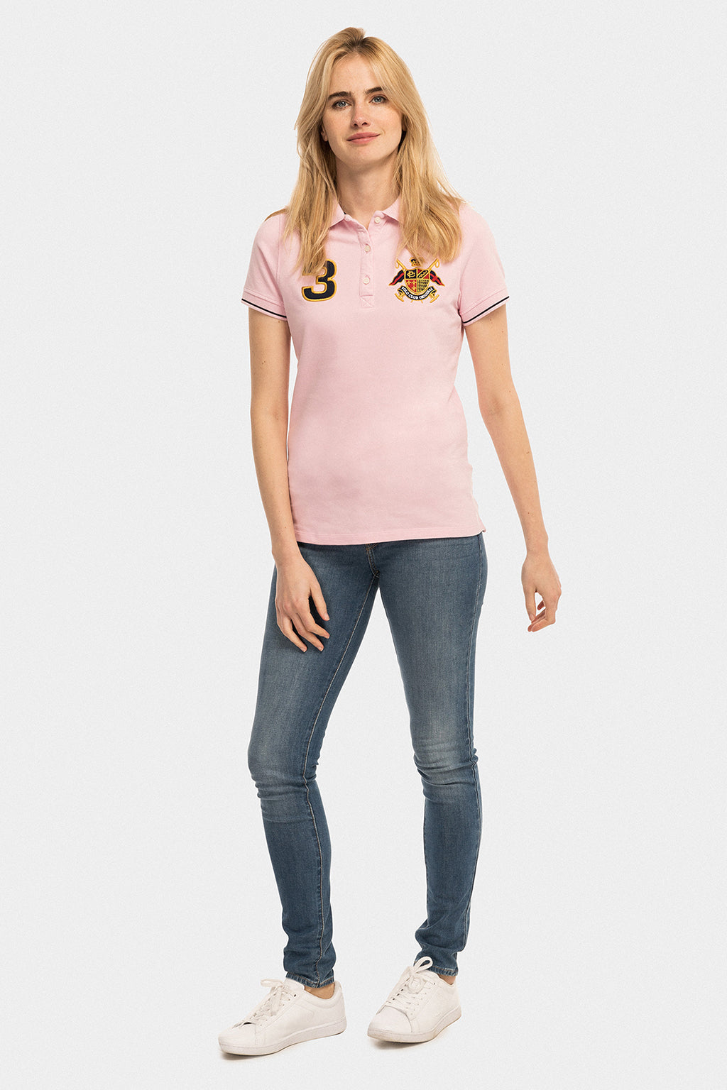Nautical-inspired pink polo shirt