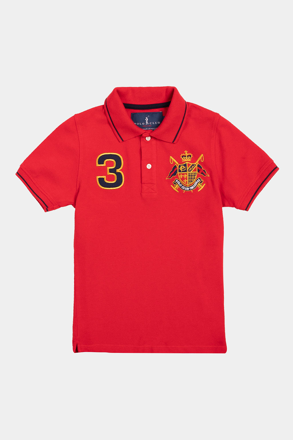 Nautical-inspired red polo shirt