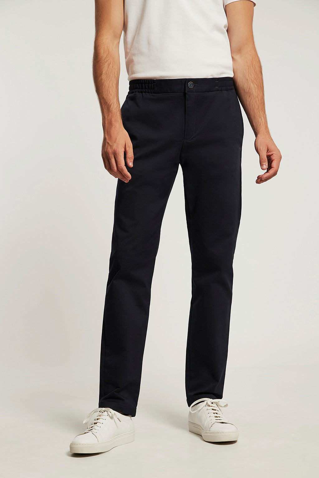 Denim blue chinos with elastic hem