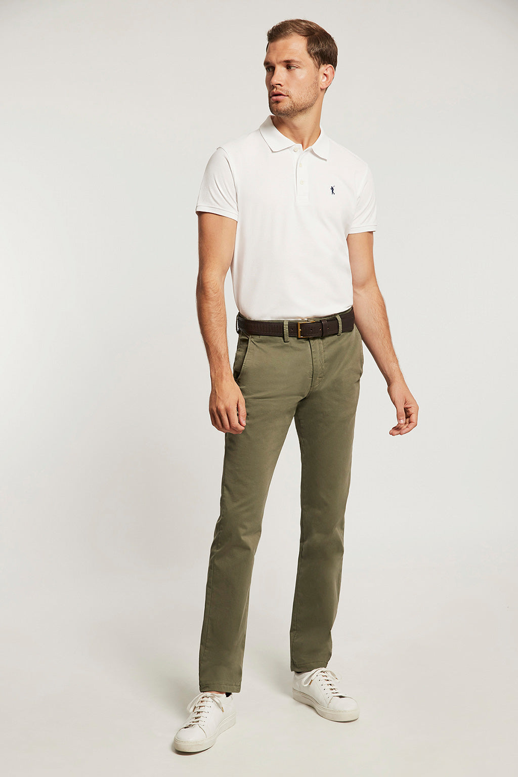 Khaki custom fit trousers