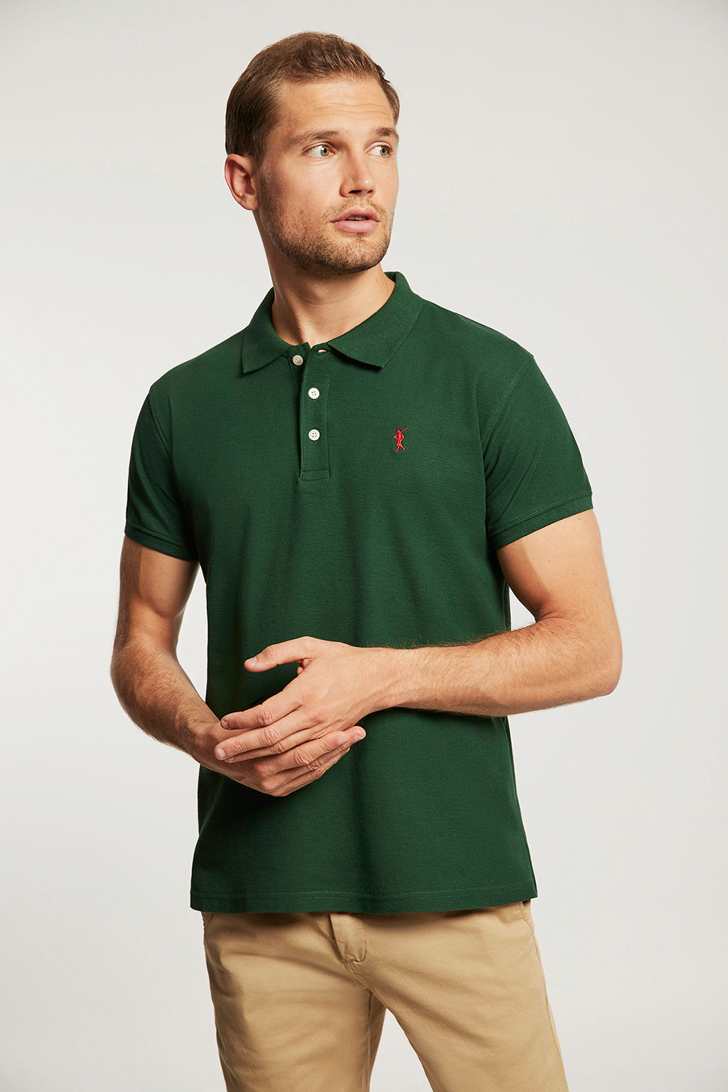 Bottle green pique polo shirt