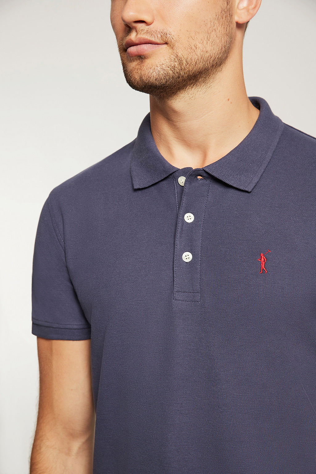 Polo piqué azul denim