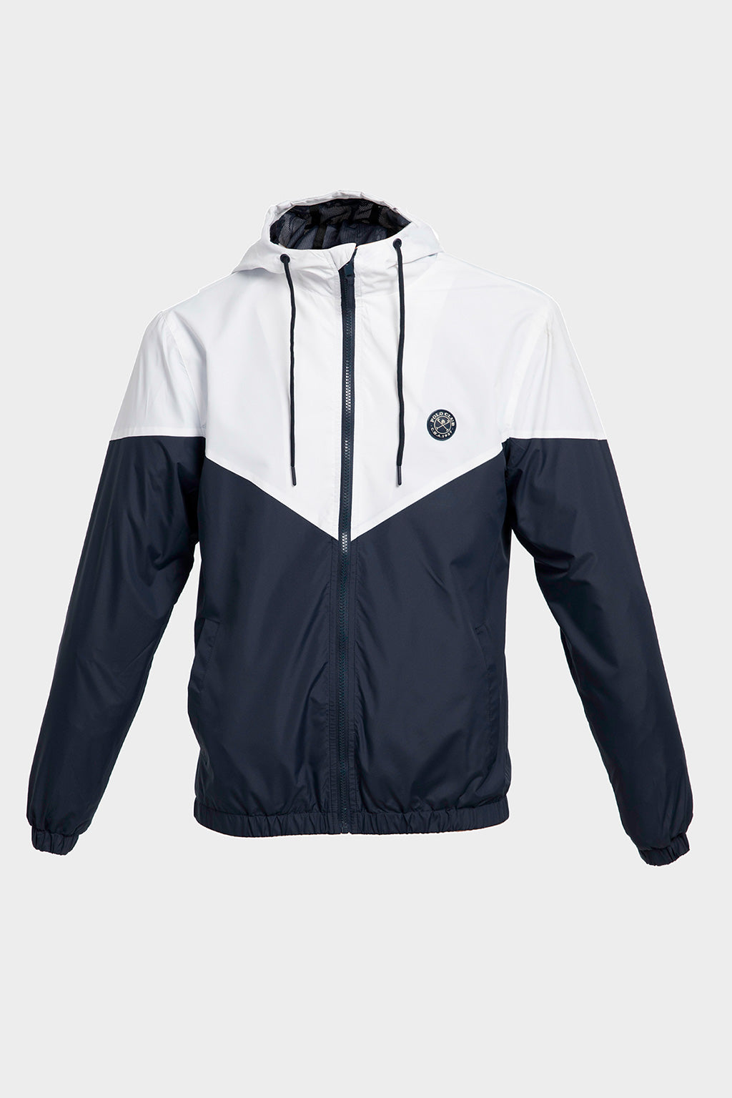 Navy blue and white windbreaker