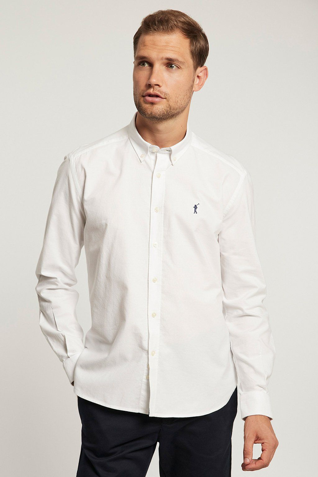 White Oxford shirt with embroidered logo