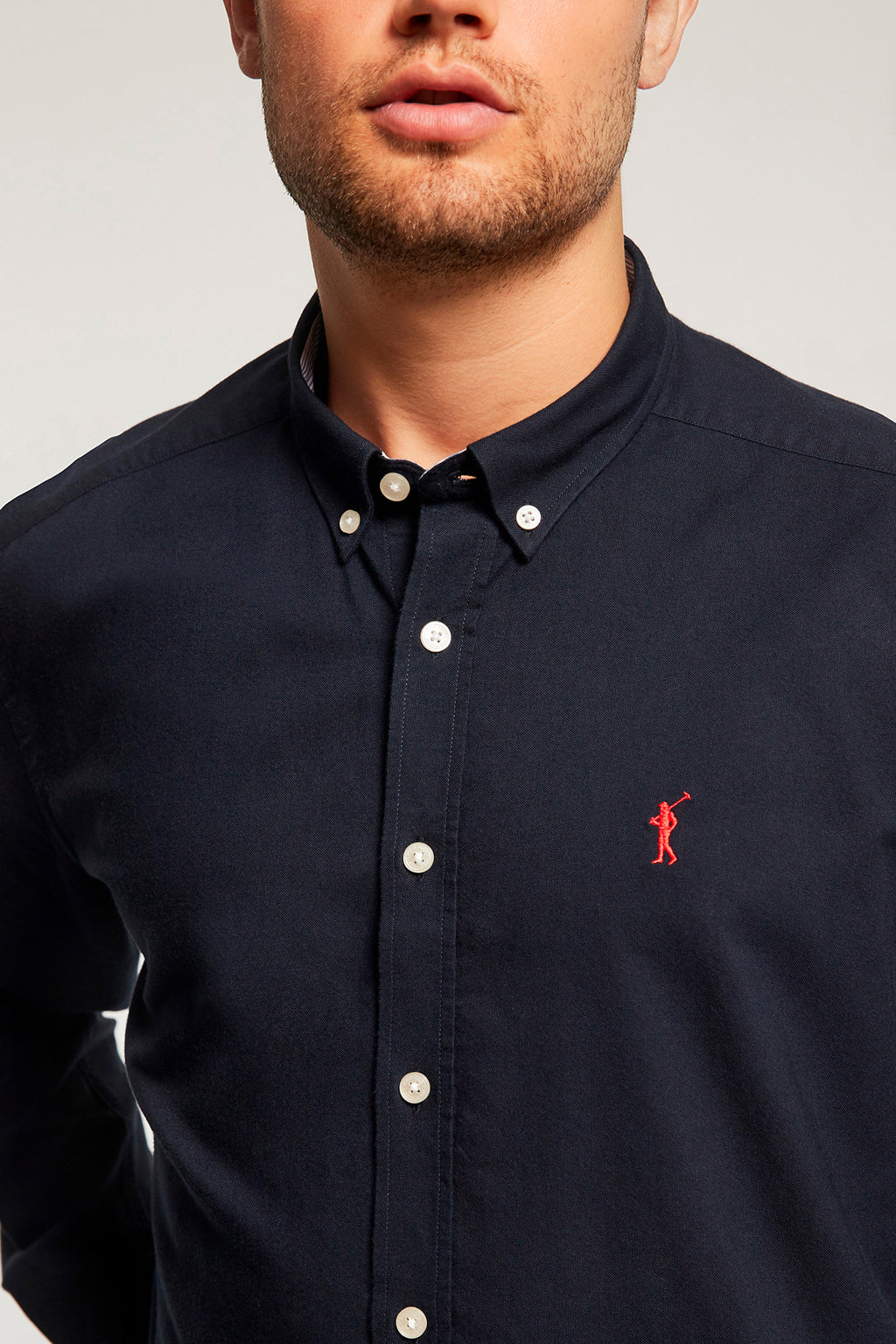 Navy blue Oxford shirt with embroidered logo