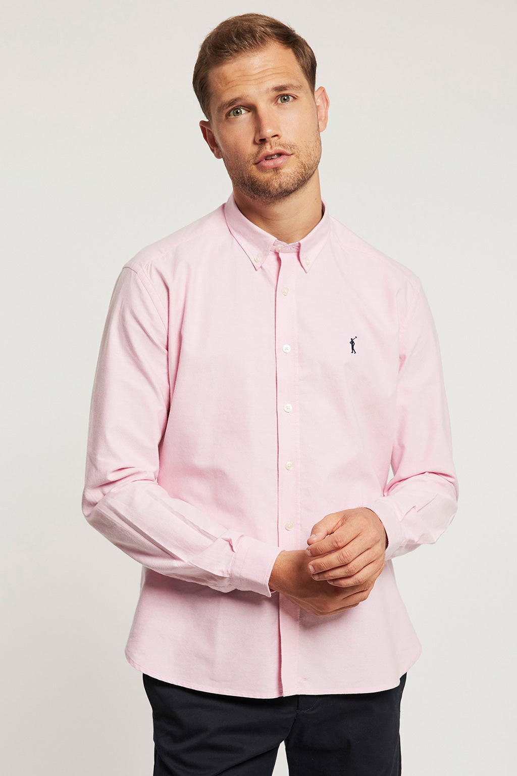 Pink Oxford shirt with embroidered logo