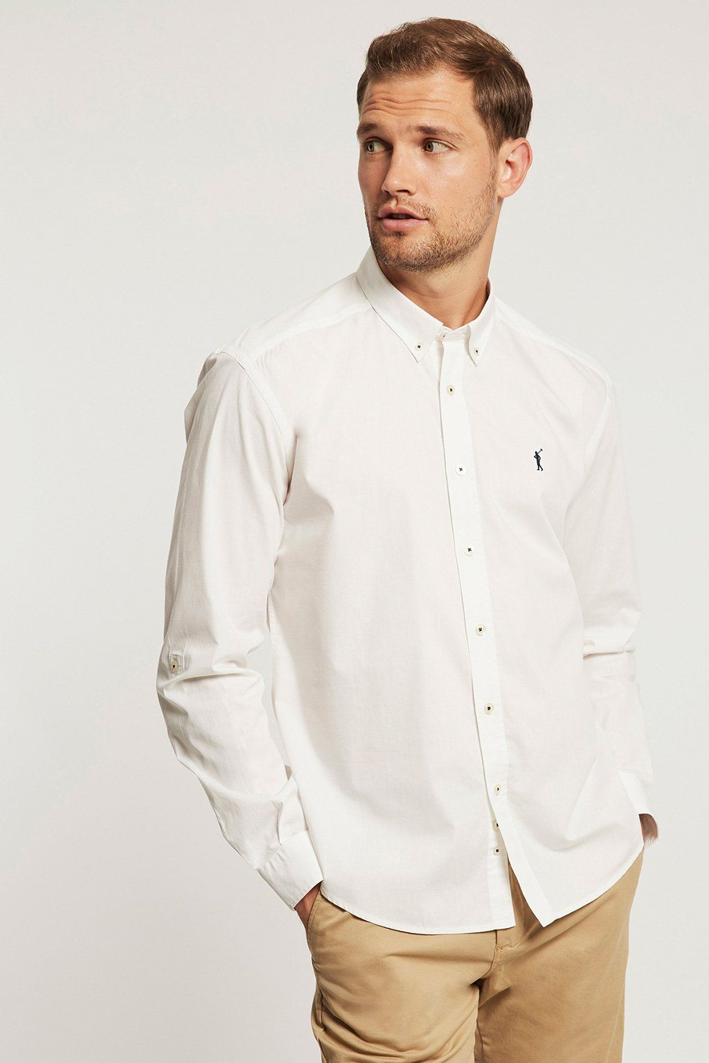 White poplin custom fit shirt