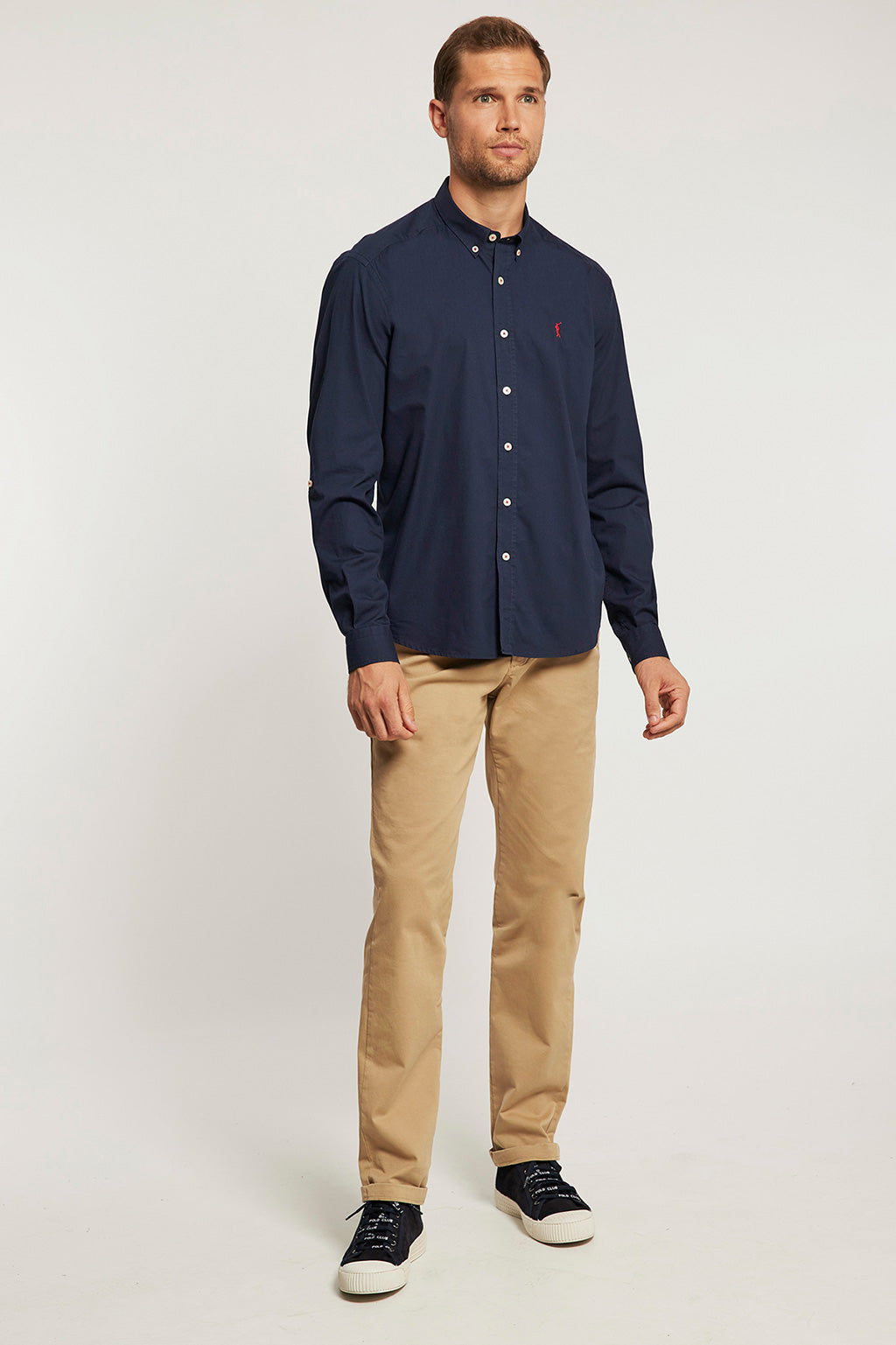 Navy blue poplin custom fit shirt
