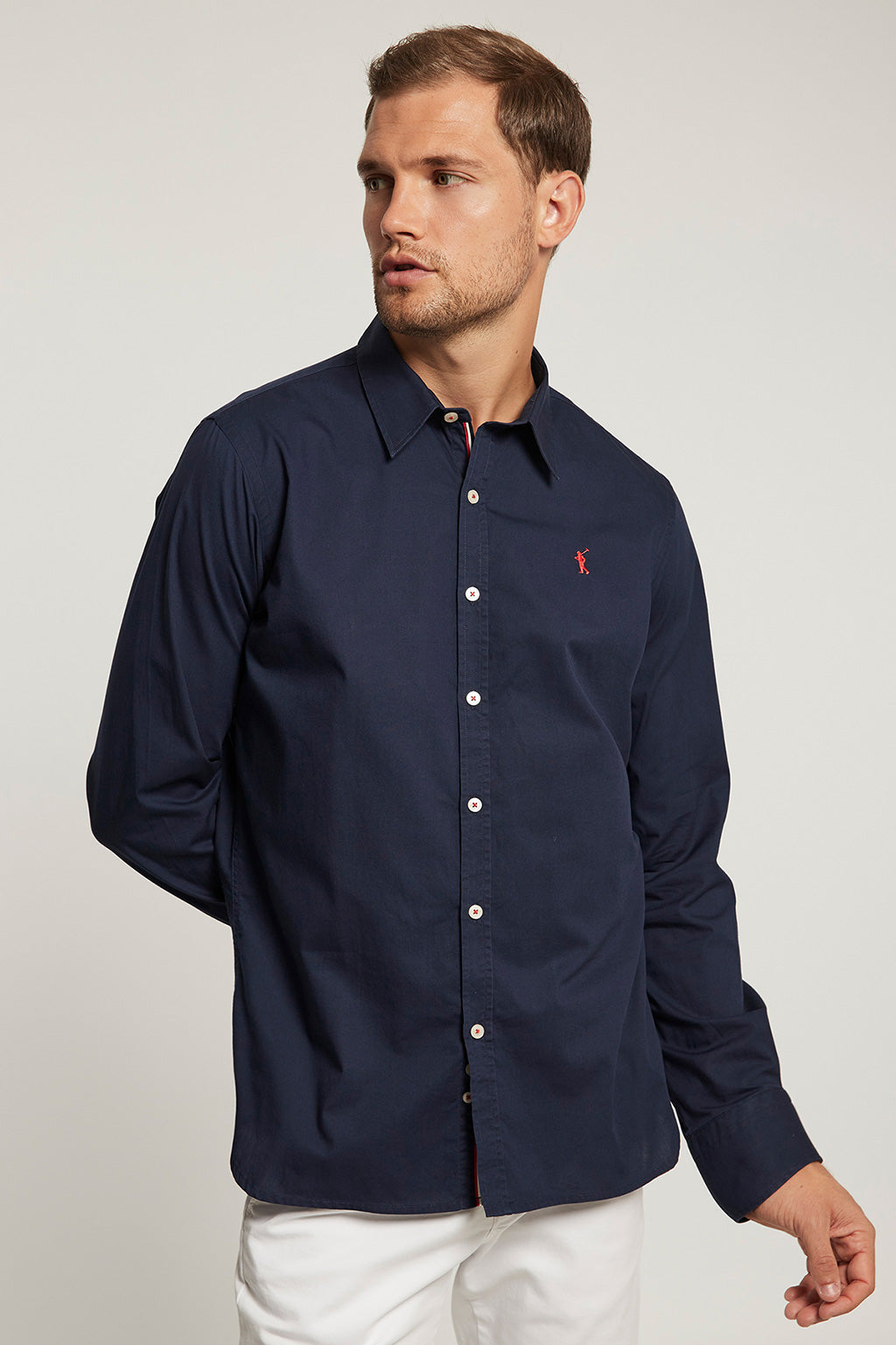 Navy blue slim fit shirt with embroidered logo