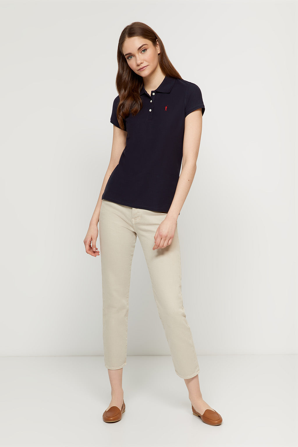 Navy blue polo shirt with embroidered logo