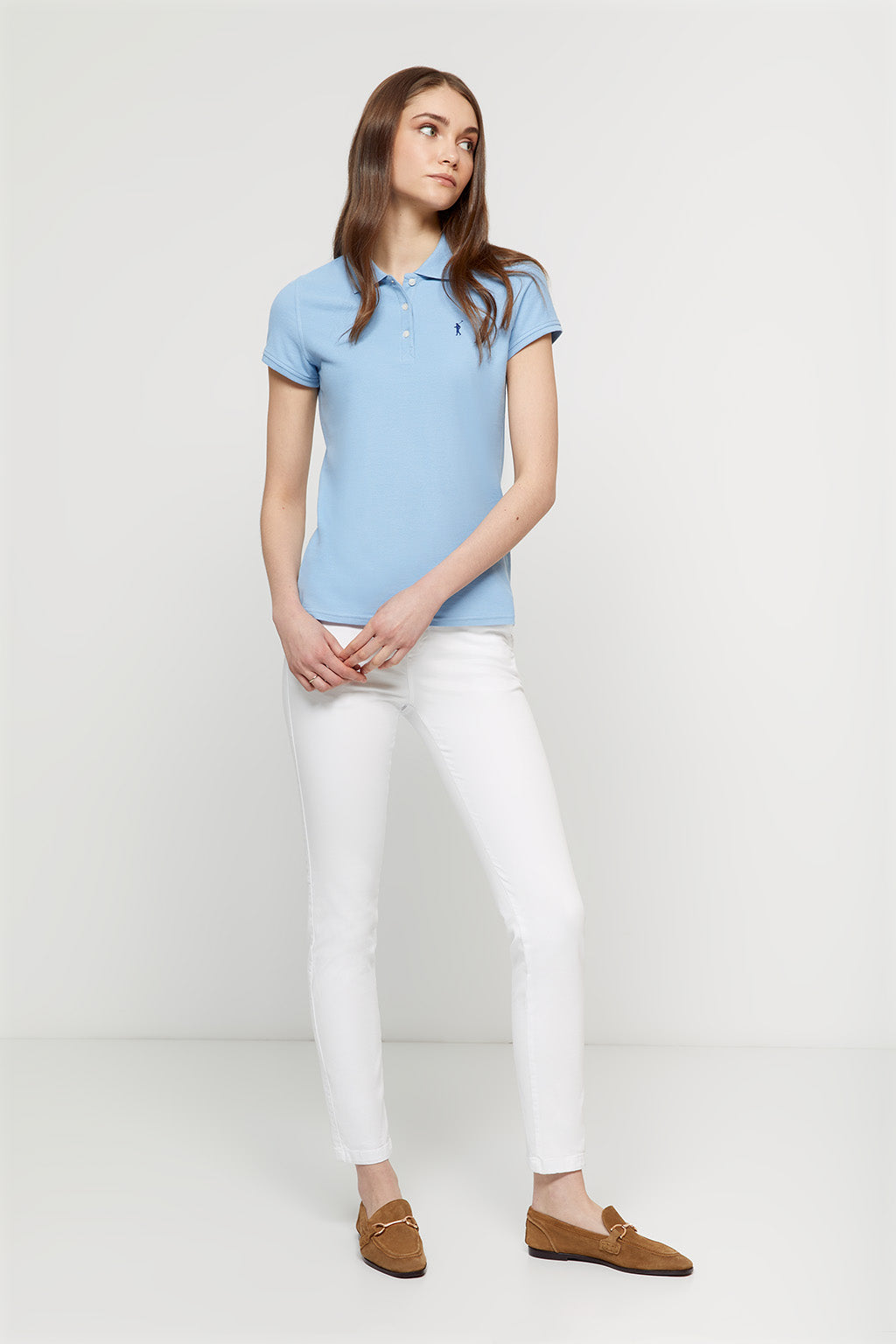 Sky blue polo shirt with embroidered logo