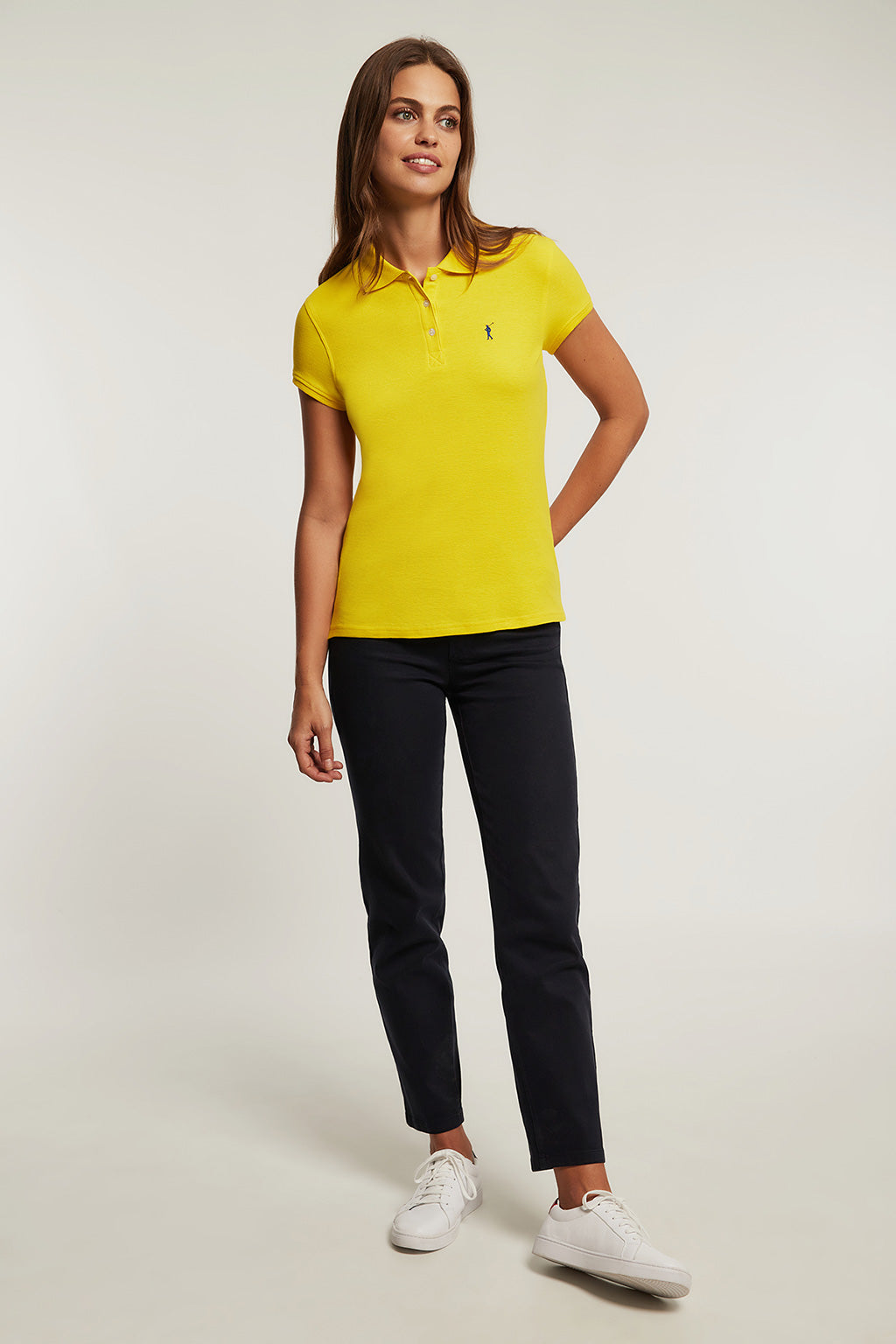 Yellow polo shirt with embroidered logo