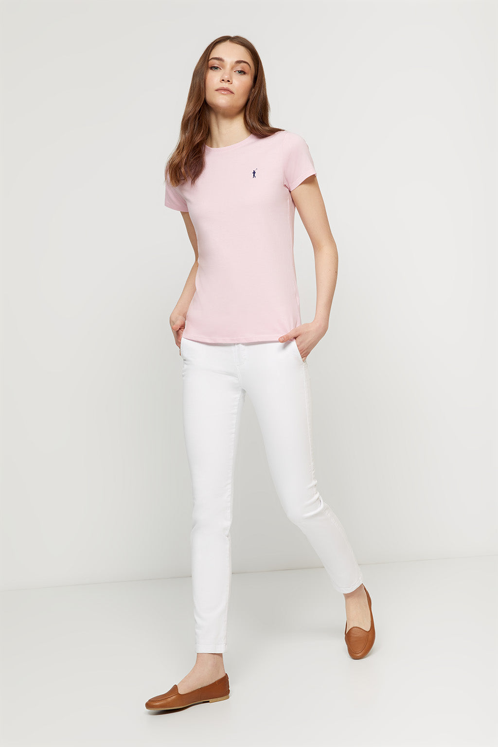 T-Shirt rosa mit Logo-Stickerei
